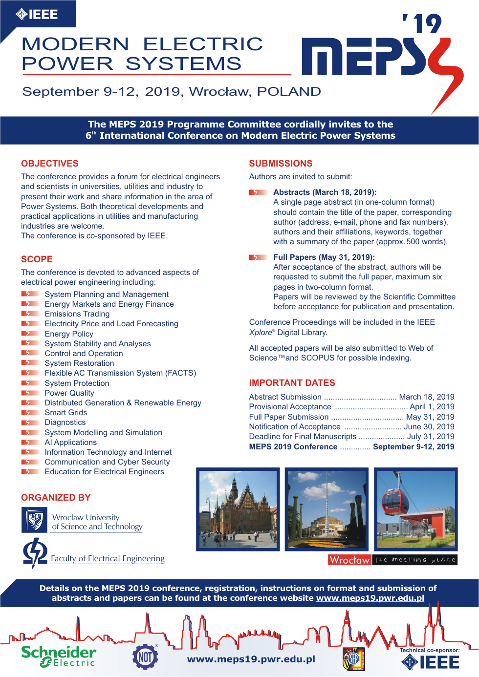 MEPS'19 Conference - Modern Electric Power Systems 2019
